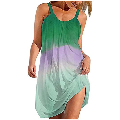 FMYONF Vestido de mujer informal a la moda, con estampado degradado, suelto, vestido de playa, bohemio, sexy, sin mangas, con anillo retro, sin mangas, verde, XL