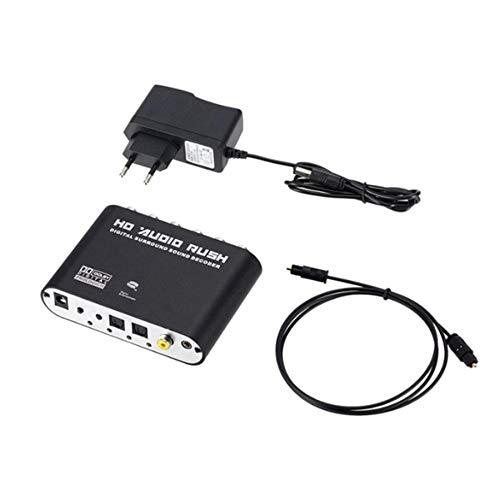 Haude Convertidor de Audio EstéReo Digital una AnalóGico de 5.1 Canales SPDIF óPtico Coaxial AUX 3.5Mm Decodificador de Sonido Amplificador-Enchufe de la UE