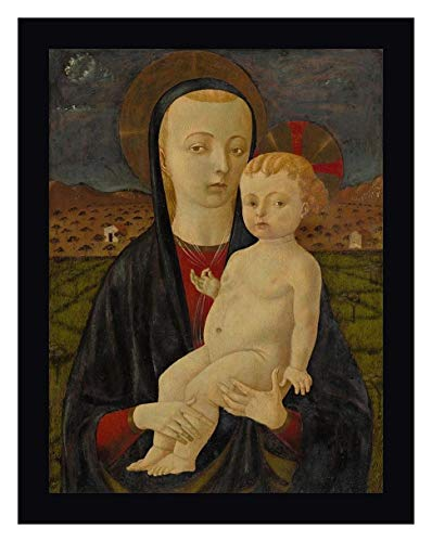 "Madonna and Child by Paolo Uccello 13"" x 16"" Black Framed Canvas Giclee Art Print - Ready to Hang"