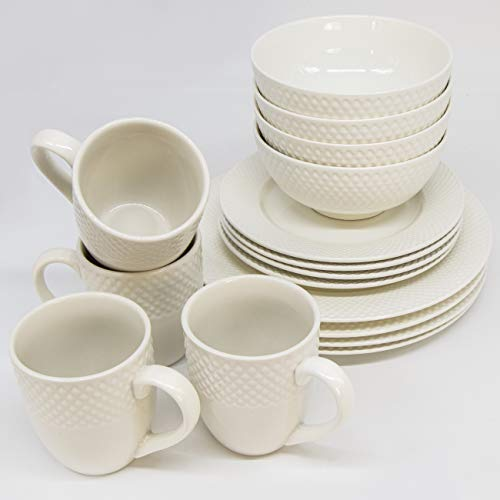 KVOTA Weißer Schwan Porzellan Geschirr Set weiß für 4 Personen 16-teiliges Tafelservice spülmaschinen- und mikrowellenfestes Kombiservice