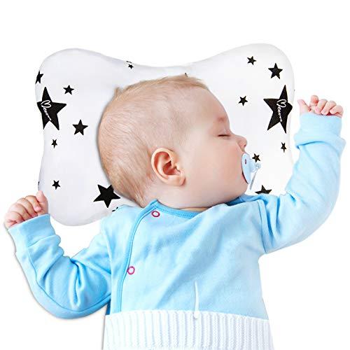 Babykissen, Anti-Exzentrisches Babykopf-Kissen, geeignet für alle Jahreszeiten, Babys und Neugeborene - Babykissen aus weicher Baumwolle (Star)
