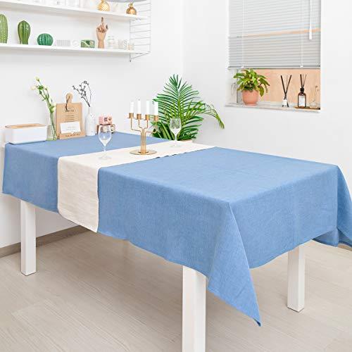 WOMGF Tovaglia Rettangolare Tovaglia Antimacchia Protegge Il Tavolo per Sala da Pranzo Lavabile per Feste 40x130cm Blu