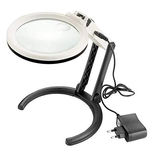 ZTHUAYUAN Lupa de artesanía Creativa Lámpara Lupa con LED, 10 Veces Mayor resolución Lupa iluminada conectable/celda de la Tabla de Lectura Plegables Leer Lupa Lupa para Leer