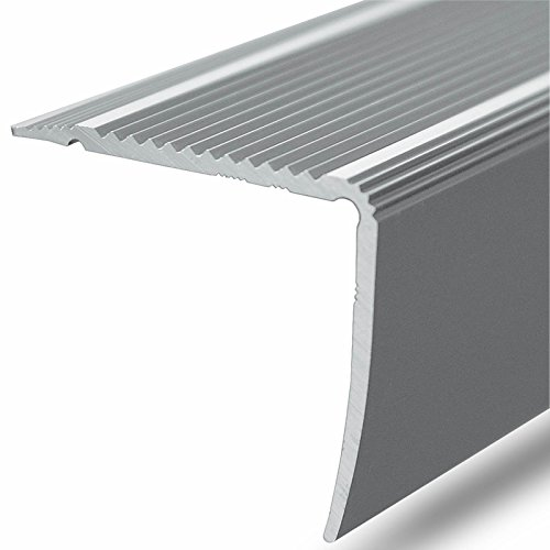 Alu Stufenkantenprofil Integral | L Form | selbstklebendes Treppen Profil | Breite 35 mm | eloxiert Silber | 134 cm