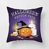 BIRSY Halloween Sofa Hug Pillowcase Halloween Print Home Bed Restaurant Cushion Lumbar Pillow 4 Piece Set 45x45cm (Color : H) 16' X 16'(IN)