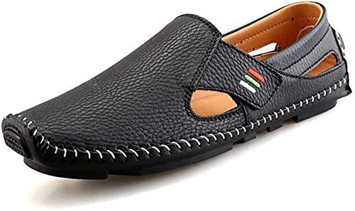 Sandalias de cuero para hombre con puntadas a mano suaves al aire libre con puntera cerrada, zapatos de senderismo para playa, sandalias de diseño de velcro, 45 EU_Black Iteration