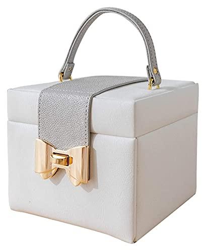 Caja de joyería de cuero blanco exquisita caja de almacenamiento de joyas de viaje portátil, espacio de tres capas, partición desmontable, caja de joyería de gran capacidad para niñas o fichas de joye