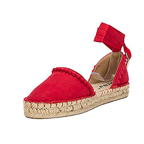 LALA IKAI Women Lace up Espadrille Flats Side Cutout Ankle Strap Holiday Sandals with Pompon Carmine Red
