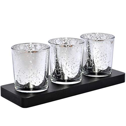 justbelight 3er-Set Glas-Teelichthalter mit Tablett | Zeitlos Schön | Elegante Tischdeko (Silber)