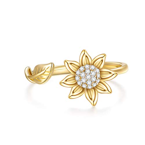 SISGEM Gold Sunflower Ring for Mum, 9 ct Solid Gold Flower Band Ring, Leaf Adjustable Ring, You are My Sunshine Rings, for Women Girls Sisters (Size K)