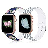 Compatible with Apple Watch Band 38mm 40mm 42mm 44mm iWatch Bands SE Series 6 5 4 3 2 1 Cute Floral Bands Soft Silicone Replacement iWatch Band Sport Wristbands Women, Christmas, New Year Gift
