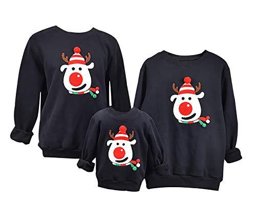 ODOKEI Weihnachtspullover für Die Ganze Familie Partner Pullover Weihnachten Pullover Weihnachtsmotiv Damen Herren Pullover mit Weihnachtsmotiv Pullover Weihnachts Familien Pullover Herren XL