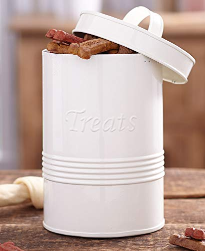 For Sale! Retro Metal Pet Treat Canister, Ivory