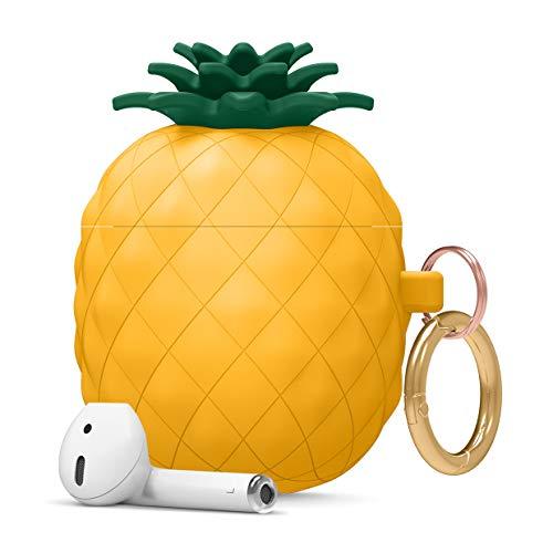 elago Ananas AirPods Hülle Silikon Pineapple Hülle Kompatibel mit Apple AirPods 2 und 1 – Lustiges & Süßes 3D Cartoon Design AirPods Schutzhülle, Hochwertiges Silikon AirPods Hülle mit Karabiner