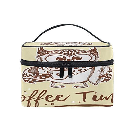 Trousse de maquillage, trousse de toilette en forme de hibou, boîte de rangement pour cosmétiques, grande poignée de voyage, cadeau idéal pour adolescente, femme