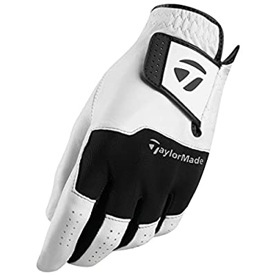 TaylorMade Stratus All Leather Glove (White/Black, Left Hand, Large), White/Black(Large, Worn on Left Hand)