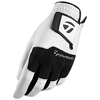 TaylorMade Stratus All Leather Glove  White/Black Left Hand XX-Large  White/Black XX-Large Worn on Left Hand