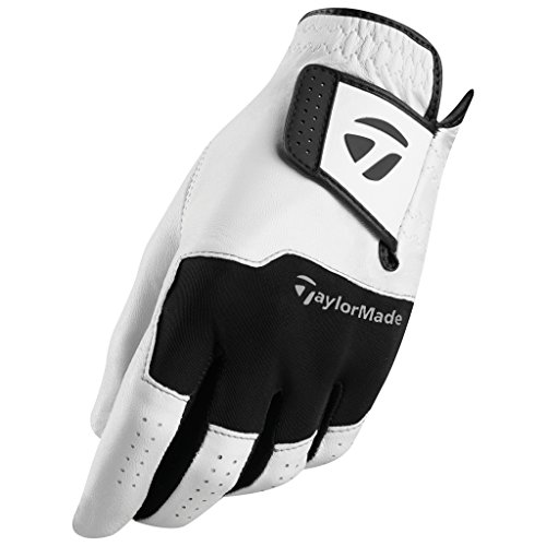 TaylorMade Stratus All Leather Glove (White/Black, Left Hand, XX-Large), White/Black(XX-Large, Worn on Left Hand)