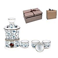 日本の温かい日本酒セット、7ピースの絶妙なセラミックブルーフラワーデザイン4カップ、カラフと加熱ポット、B