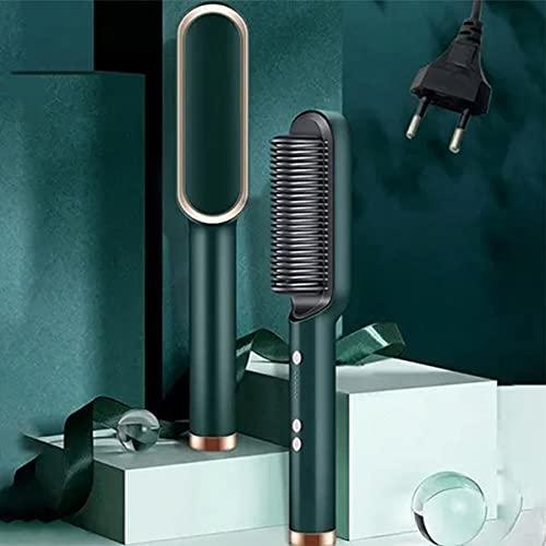 KADXG 2021 New Anion Hair Straightener,Ceramic Hair Curler Heated Electric Smart Brush Hair Straightener (Green)