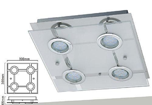 Preisvergleich Produktbild Trango Modern 4-flammig Satiniertes Glas LED Deckenleuchte TG3177 incl. 4x 3 Watt LED Leuchtmittel - Bad Lampe,  Deckenlampe,  Deckenstrahler,  Deckenspot,  Wohnzimmer
