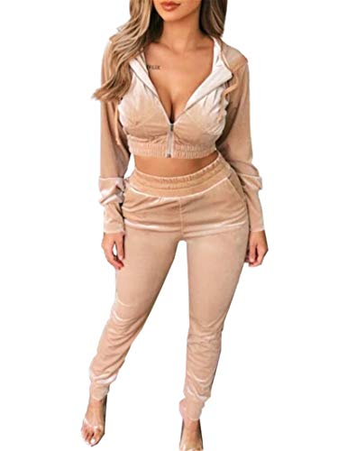 Two Piece Outfits for Women Long Sleeve Velour Zip Up Hoodie Crop Tops Jacket + Skinny Long Pants Jogger Sweat Suits Sets Khaki
