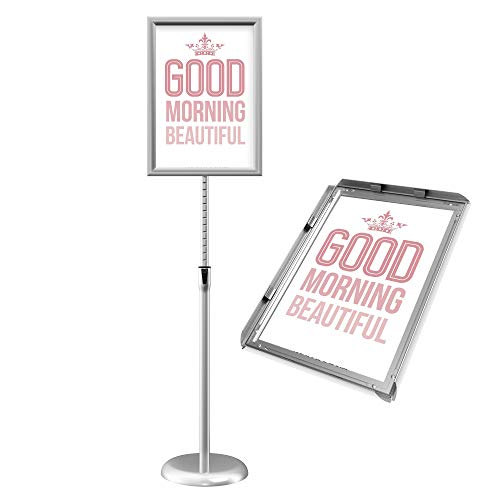 GUOHONG Infoständer Höhenverstellbar Edelstahl Informationsständer A3 Plakatständer Präsentationsständer Werbeständer (Silber, A3)