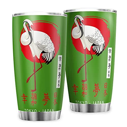 Butterfly Goods Taza de café Tokyo Crane de doble pared – Vintage Classic taza de viaje con pared duradera para bebidas calientes Green 600 ml (20 oz)