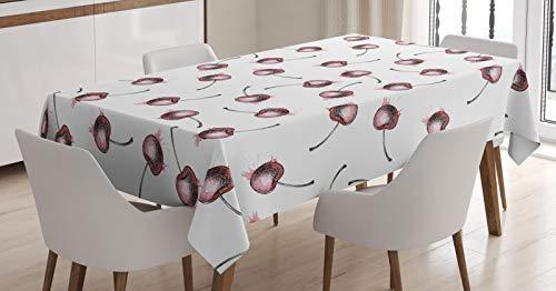 ABAKUHAUS Cerise Nappe, Fruit Grunge Sketch, Linge de Table Rectangulaire pour Salle à Manger Décor de Cuisine, 140 cm x 240 cm, Blanc Rose pâle