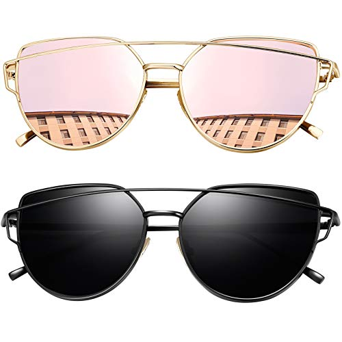 Joopin Gafas de Sol Polarizadas Mujer Ojo de Gato de Moda Cateye Lentes de Espejo Plano de Gran Tamaño Negro+Rosa