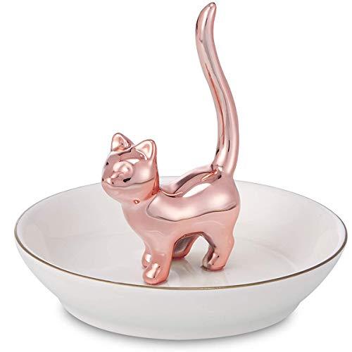 ROSA&ROSE Ringhalter Katze Schmuckhalter für Ringe, Ohrringen, Armbänder, Ketten, Uhren - Aus Keramik hergestellt