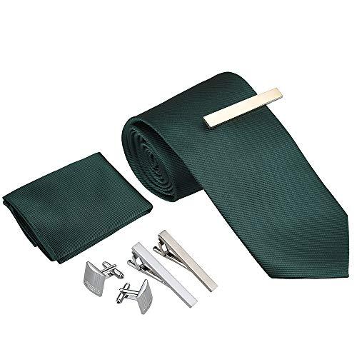 Rovtop Corbatas de Hombre Regalo Conjunto - Set de Corbata Hombre Simulación Cosidas a Mano de Seda con Corbata, Pañuelo, 1 par Gemelos Cuadrados, 3 Clips de Corbata (Verde Oscuro)