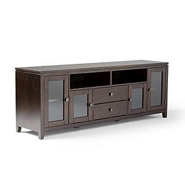 Simpli Home Cosmopolitan Solid Wood Wide TV Media Stand, 72 , Coffee Brown