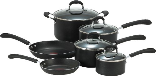 T-fal E938SA Professional Total Nonstick Oven Safe Thermo-Spot Heat Indicator 10-Piece Dishwasher Safe Cookware Set, Black