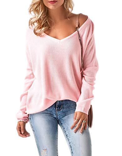 Mikos* Damen Frauen Off Shoulder Langarm Frühling Sommer Pullover Strickpullover Pullover Baggy V-Ausschnitt (694) (Rosa)