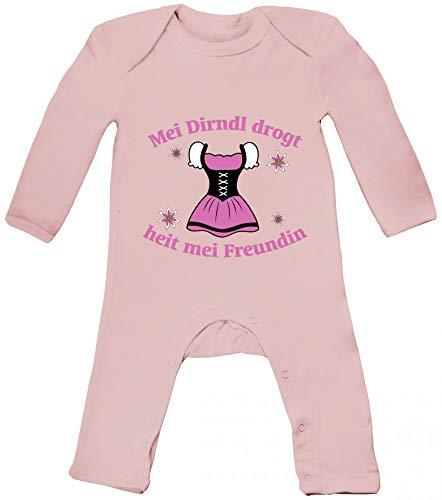 ShirtStreet Gaudi Wiesn Baby Strampler Langarm Schlafanzug Jungen Mädchen Oktoberfest - MEI Dirndl drogt heit MEI Freundin 2, Größe: 12-18 Monate,Powder Pink