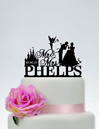 Decoración para tarta de boda con apellido, Cenicienta y Príncipe, silueta de Campanilla C170, cumpleaños de boda