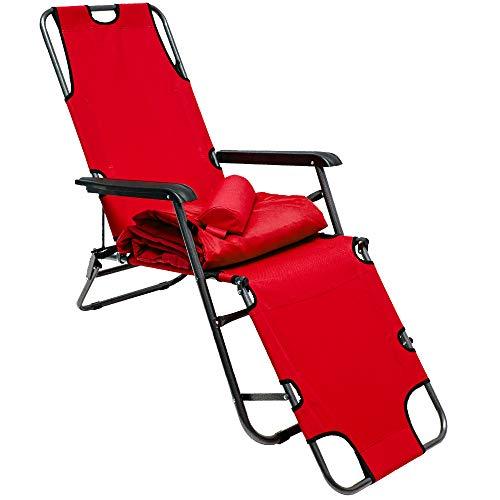 AMANKA Tumbona Plegable | Cómoda Silla de Playa con Acolchada Amovible 178 cm + Reposacabezas + Reposapiernas + Respaldo Reclinable | Rojo