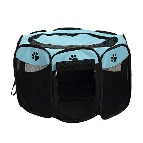 Decdeal Box per Animali da Compagnia Portatile, Recinti Gioco per Cani Impermeabile Pieghevole Tessuto Oxford, Tenda da Casa o Giochi per Cani e Gatti, Facile da Montare (Blu Chiaro)