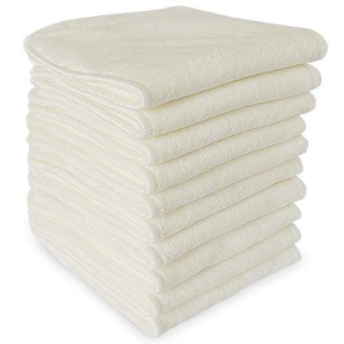 Bluesnail Absorbent Cloth Diaper Liner, Washable Bamboo Reusable Inserts ( White , Pack of 10)