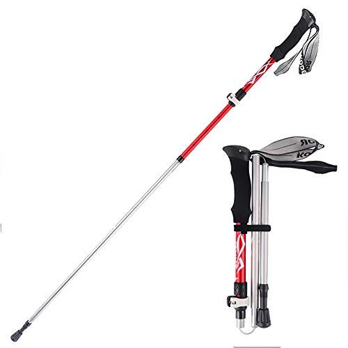 Morza Aleaci/ón de Aluminio Ultra Ligero Walking polacos Ajustable Plegable de alpinista alpinista Bastones de Trekking para Acampar al Aire Libre Senderismo
