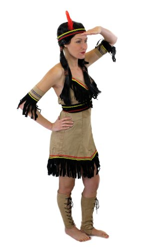 dressmeup Tolles Set: Kostüm Damen Damenkostüm Indianerin Indianerfrau Feder L019 XS