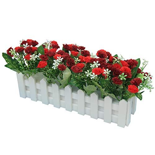 Flikool Claveles Flores Artificiales con Valla Faux Carnations Plantas Artificiales con Cerca Macetas Simulacion Falso Potted Bonsai Flor Artificial 30 * 7.5 * 15 cm - Rojo