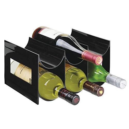 mDesign praktisches Wein- und Flaschenregal – Weinregal Kunststoff für bis zu 6 Flaschen – freistehendes Regal für Weinflaschen oder andere Getränke – schwarz