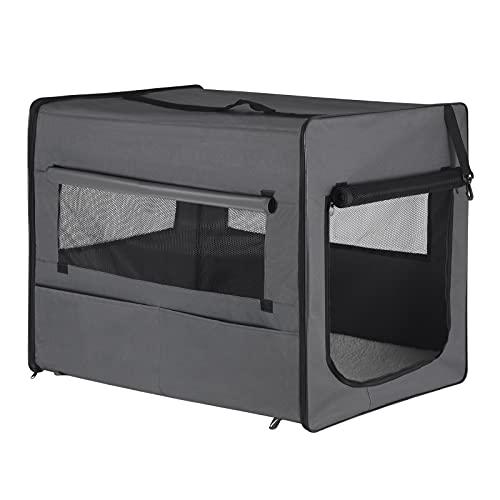 EUGAD Hundebox faltbar Hundetransportbox Auto Transportbox Reisebox Katzenbox Grau XL 90x59x67cm 0340GL