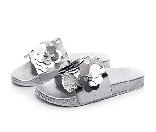 Damen Mädchen Sommer Sandalen Slipper Anti-Rutsch mit Strass für Frauen Glitzer Flip Flops Casual Strand Sandale (EU 36, Silber)