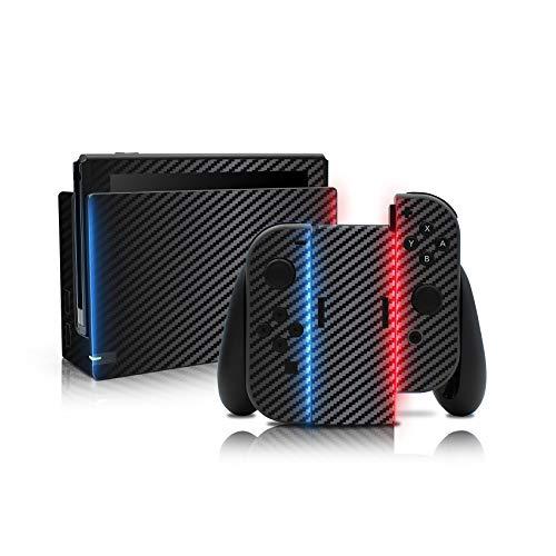 Folien Skin für Spiele Konsole Joy-Con und Ladestation Aufkleber Set Top Schutz gegen Kratzer Design Sticker Cover passgenau selbstklebend RX021 (Nr. 7 Carbon)