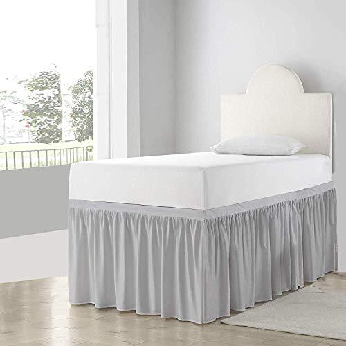 Cottingon Dorm Room Bed Skirt-College Dorm Bed Skirt-Long Bed Skirt Dorm-Extra Long Dorm Room Bed Skirt-100% Microfiber-Light Grey Solid -Twin-XL/36''Drop