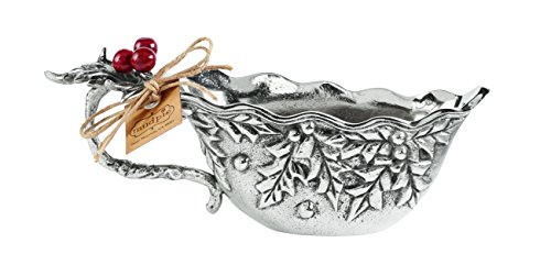Mud Pie Cast Aluminum Berry Gravy Boat, Holly
