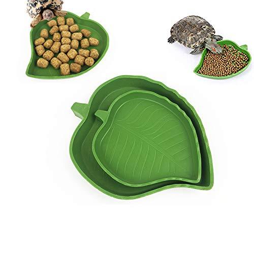 2 Piezas Cuenco de Agua de Comida para Reptiles, Tortuga Alimentadora de Reptiles, Cuenco de Agua de Hoja, Comedero para Reptiles, Plato de Agua para Tortuga, Geco, Serpiente, Mascotas
